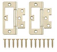 Brass-plated Metal Flush Door hinge (L)75mm N162, Pack of 2