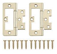Brass-plated Metal Flush Door hinge (L)75mm NO92, Pack of 8