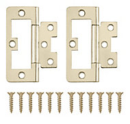 Brass-plated Metal Flush Door hinge (L)75mm, Pack of 8