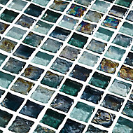 Bressia Blue & green Glass effect Mosaic Glass Mosaic tile, (L)306mm (W)306mm