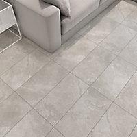 Bristol Grey Matt Glazed Tile Marble effect Porcelain Wall & floor Tile, Pack of 6, (L)600mm (W)300mm