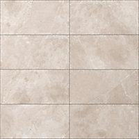 Bristol Taupe Matt Glazed Tile Marble effect Porcelain Wall & floor Tile, Pack of 6, (L)600mm (W)300mm