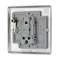 British General 10A 2 way Brushed stainless steel effect Single Light Switch
