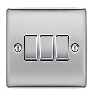 British General 10A 2 way Brushed stainless steel effect Triple Light Switch