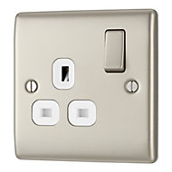 British General 13A Nickel effect Single Switched Socket