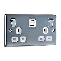 British General 13A Polished Metal Double Socket with USB