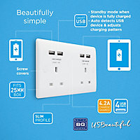British General 13A White Double USB socket