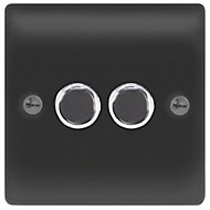 British General 2 way Double Black Dimmer switch