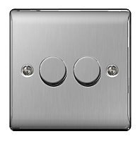 British General 2 way Double Steel effect Dimmer switch
