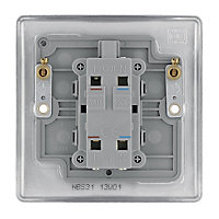 British General 20A Brushed stainless steel effect Single Switch