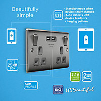 British General Brushed Steel effect Double USB socket, 2 x 3.1A USB