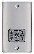 British General Raised Screwed Stainless steel effect Brushed Dual Shaver socket