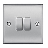 British General Stainless steel effect 10A 2 way 2 gang Raised Light Switch