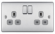 British General Stainless steel effect Double 13A Switched Socket with Grey inserts