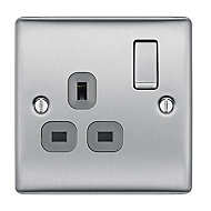 British General Stainless steel effect Single 13A Switched Socket with Black inserts