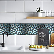 Brixton Blue Stone effect Glass & marble Mosaic tile, (L)300mm (W)300mm