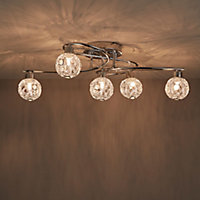 Bronte Chrome effect Mains-powered 5 lamp Spotlight