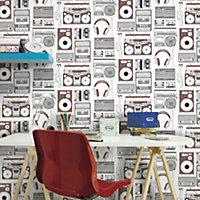 Brown & white Retro music Wallpaper