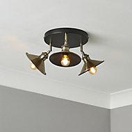Bureau Satin Black Antique brass effect Mains-powered 3 lamp Spotlight