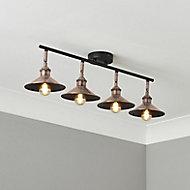 Bureau Satin Black Antique brass effect Mains-powered 4 lamp Spotlight bar