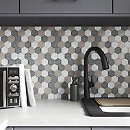 Cadro Multicolour Glass Mosaic tile sheet, (L)298mm (W)302mm