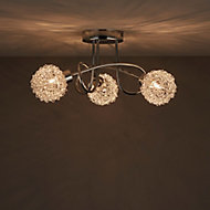 Caelus Chrome effect 3 Lamp Ceiling light