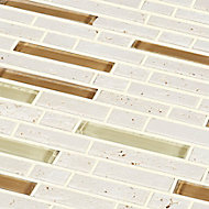 Cagliari Beige & brown Glass effect Glass & natural stone Mosaic tile, (L)304mm (W)300mm
