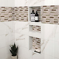 Cagliari Beige & brown Glass & natural stone Mosaic tile, (L)304mm (W)300mm