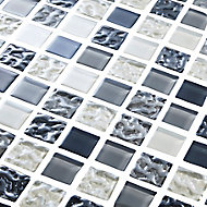 Calabria Grey & white Glass effect Mosaic Glass Mosaic tile, (L)300mm (W)300mm