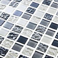 Calabria Grey & white Glass effect Mosaic Glass Mosaic tile, (L)300mm (W)300mm