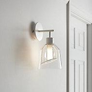 Calaneo Matt Clear & white Wall light