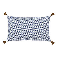 Campton Geometric Blue & white Cushion (L)50cm x (W)30cm