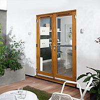 Canberra 1 Lite Glazed Laminated Golden Oak External French Door set, (H)2105mm (W)1505mm