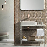 Cannes Polished Antique mirror effect Glass Mosaic tile, (L)300mm (W)335mm