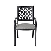 Carambole Dark grey Metal Dining Armchair