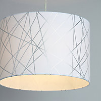 Carme White Silver effect Drum shade Light shade (D)300mm