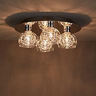 Carmenta Chrome effect 4 Lamp Ceiling light