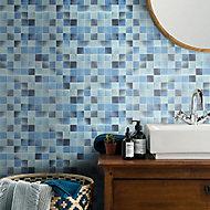 Carnival Blue & white Glass Mosaic tile, (L)300mm (W)300mm