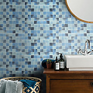 Carnival Blue & white Glass Mosaic tile sheets, (L)300mm (W)300mm