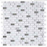 Carrera Art Deco White marble & mirror effect Glass Mosaic tile, (L)298mm (W)308mm