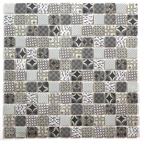casablanca white blue moroccan patterned glass mosaic tile l 300mm w 300mm