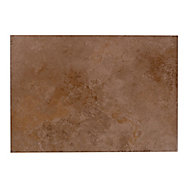 Castle travertine Chocolate Satin Plain Stone effect Ceramic Wall tile, Pack of 7, (L)450mm (W)316mm