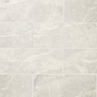 Castles Silver Gloss Marble effect Ceramic Wall Tile, Pack of 14, (L)500mm (W)200mm
