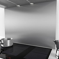 Cata Stainless steel Splashback, (H)750mm (W)1000mm (T)10mm