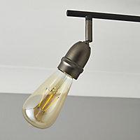 Catalyst Pewter & black Gun metal effect Mains-powered 4 lamp Spotlight bar