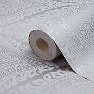 Celosi Grey Damask Metallic effect Textured Wallpaper
