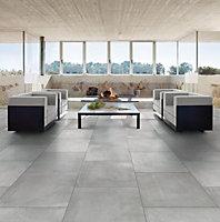 Cementina Grey Matt Stone effect Porcelain Wall & floor Tile, (L)600mm (W)600mm