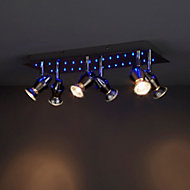 Ceraon Brushed Chrome effect Mains-powered 6 lamp Spotlight