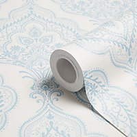 Charlotte Blue Mica effect Wallpaper