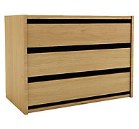 Chasewood Oak effect 3 drawer chest (H)600mm (W)800mm (D)450mm